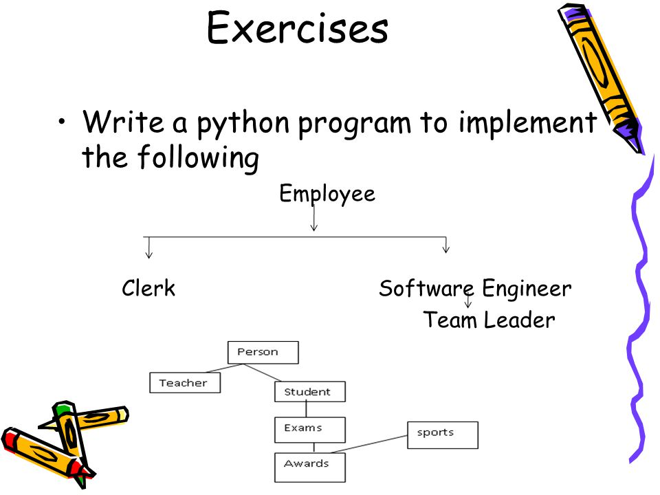 Exercises Write a python program to implement the following Employee