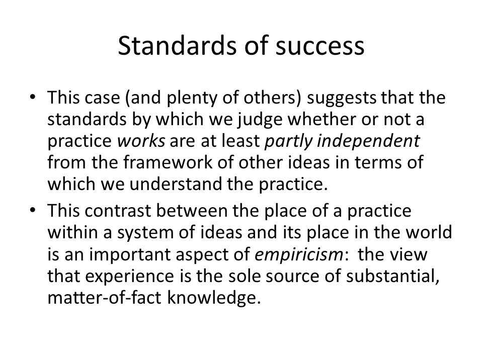 Standards of success