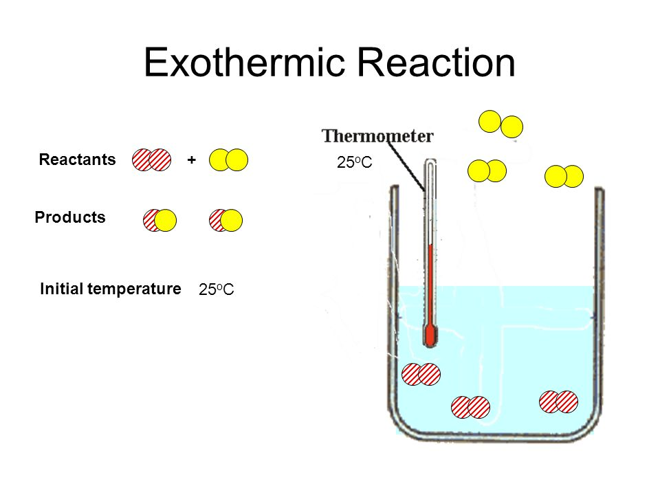 Exothermic Reaction Reactants + 25oC Products 25oC Initial temperature