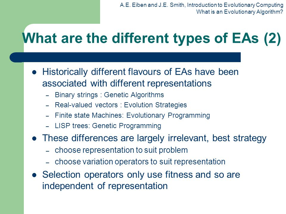 What are the different types of EAs (2)