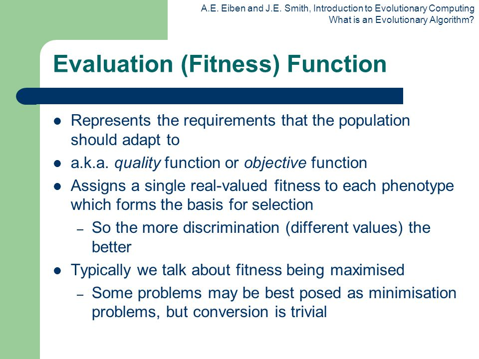 Evaluation (Fitness) Function