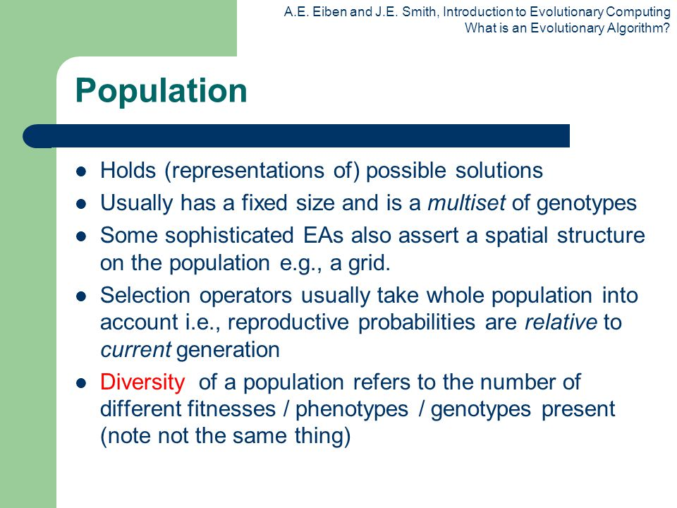 Population Holds (representations of) possible solutions