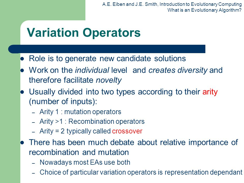 Variation Operators Role is to generate new candidate solutions
