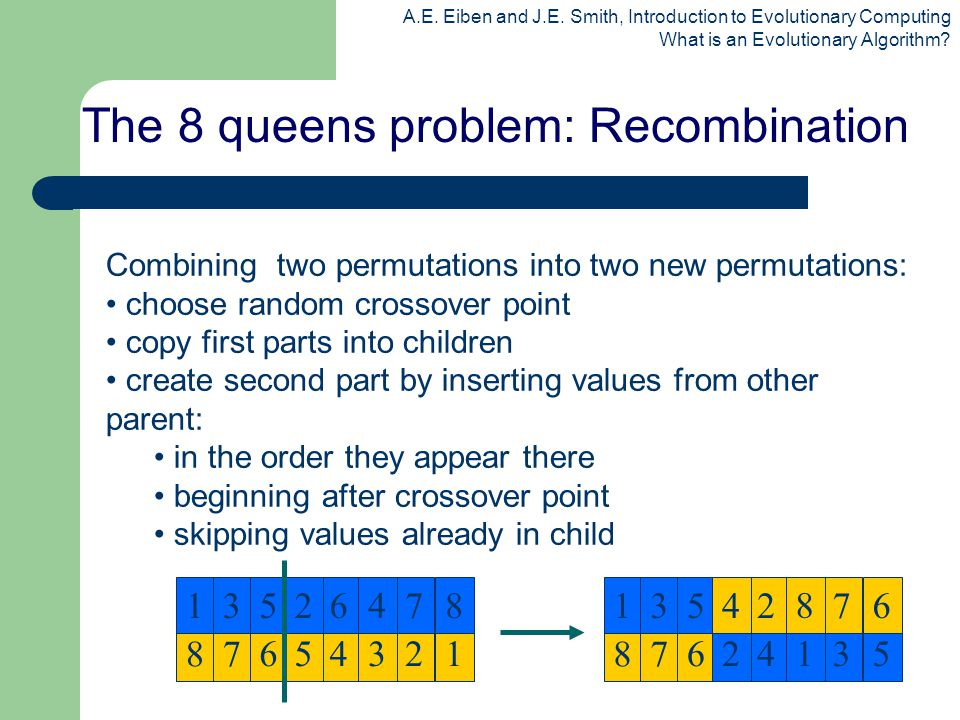 The 8 queens problem: Recombination