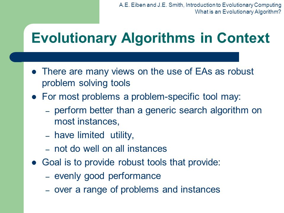 Evolutionary Algorithms in Context