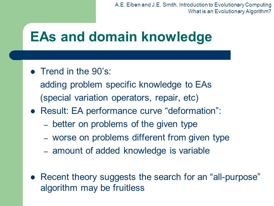 EAs and domain knowledge