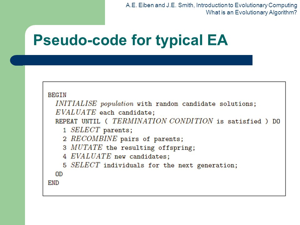 Pseudo-code for typical EA