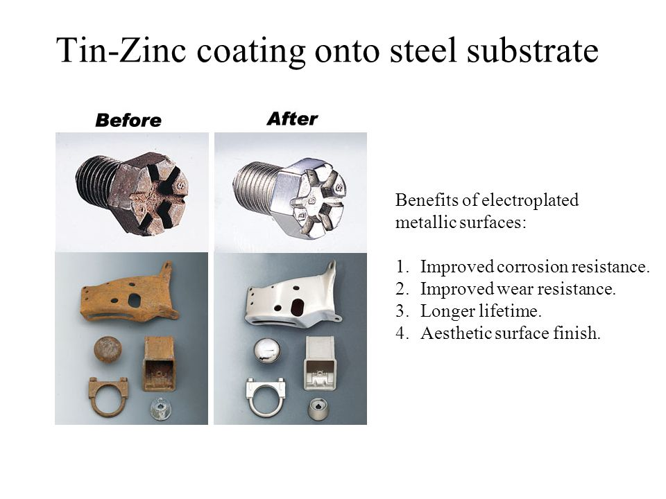 Tin-Zinc coating onto steel substrate