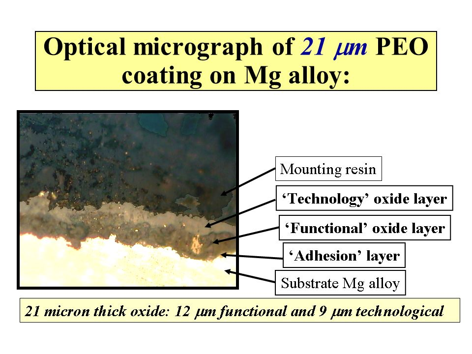 Optical micrograph of 21 mm PEO coating on Mg alloy:
