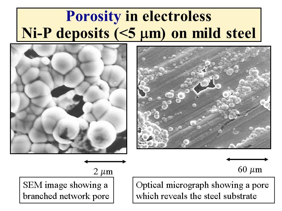 Porosity in electroless Ni-P deposits (<5 mm) on mild steel