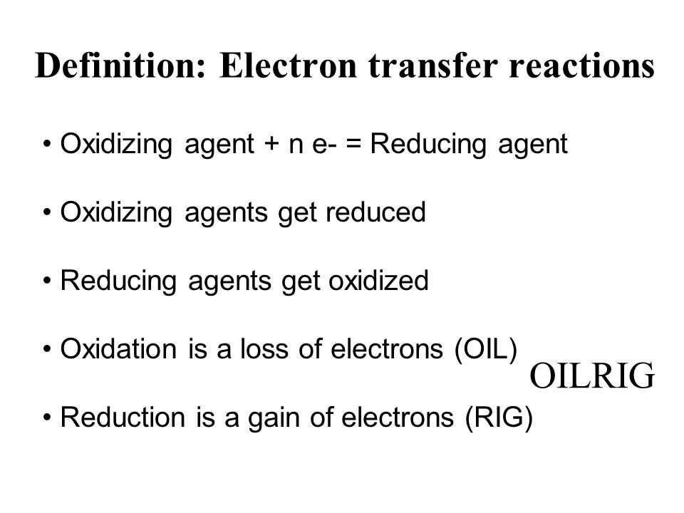 Definition: Electron transfer reactions