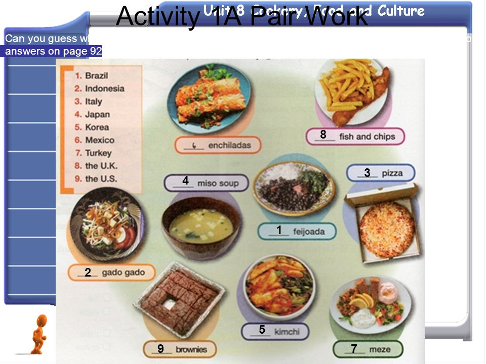 Activity 1A Pair Work Can you guess where these foods come from Match the countries with the foods. Then check your answers on page 92.