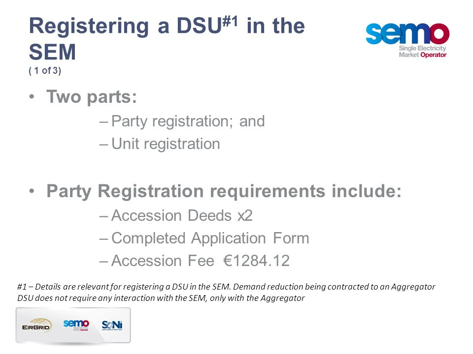 Registering a DSU#1 in the SEM ( 1 of 3)