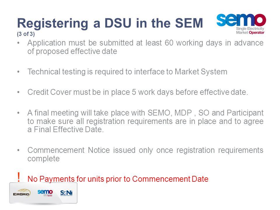 Registering a DSU in the SEM (3 of 3)