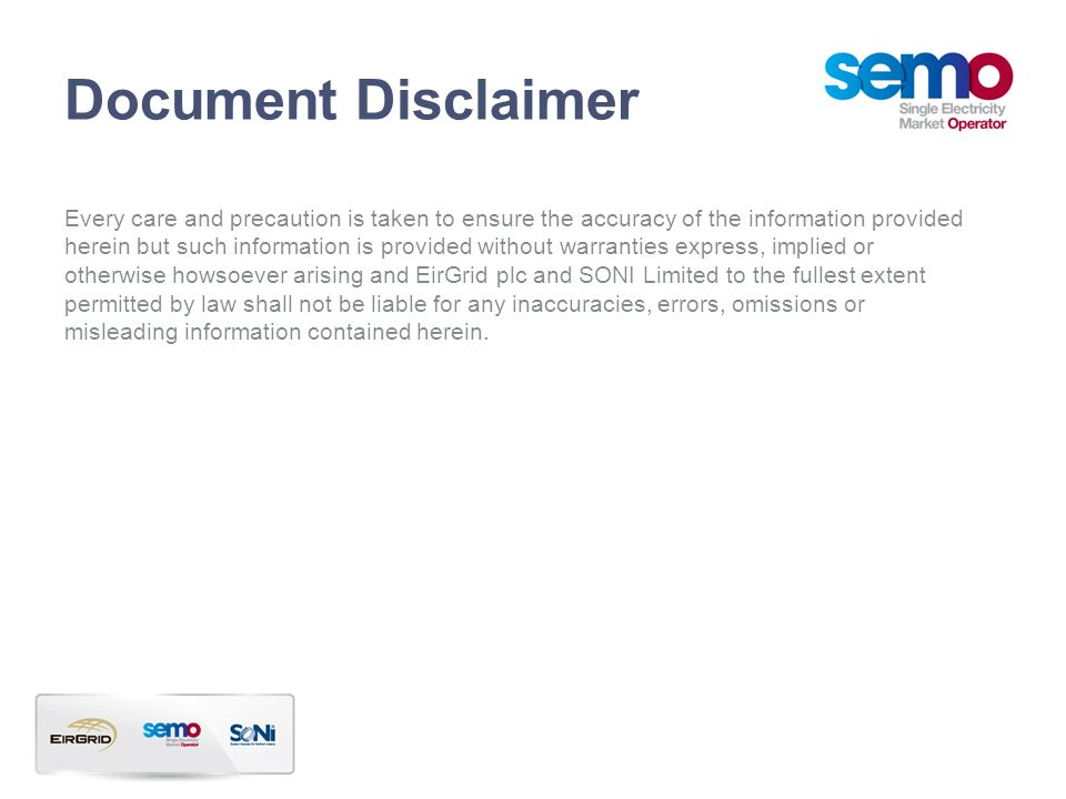 Document Disclaimer