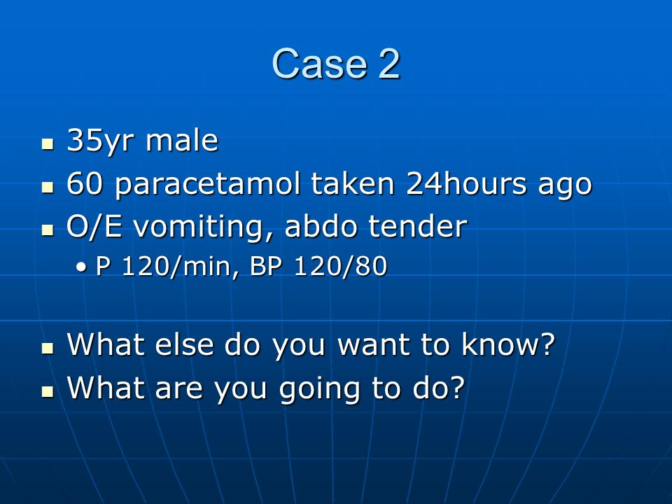 Case 2 35yr male 60 paracetamol taken 24hours ago