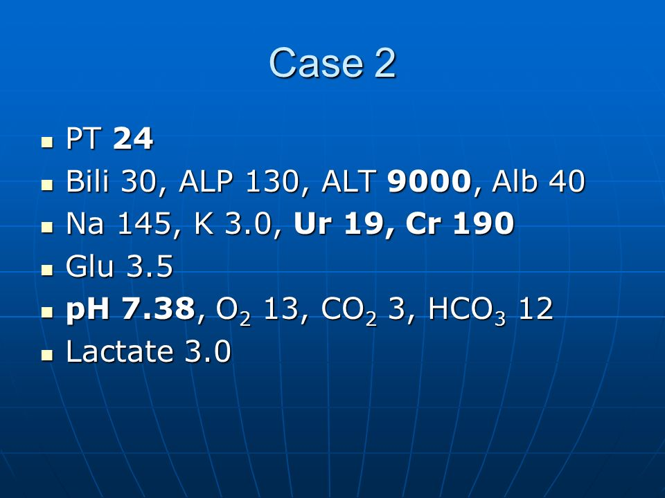Case 2PT 24. Bili 30, ALP 130, ALT 9000, Alb 40. Na 145, K 3.0, Ur 19, Cr 190. Glu 3.5. pH 7.38, O2 13, CO2 3, HCO3 12.