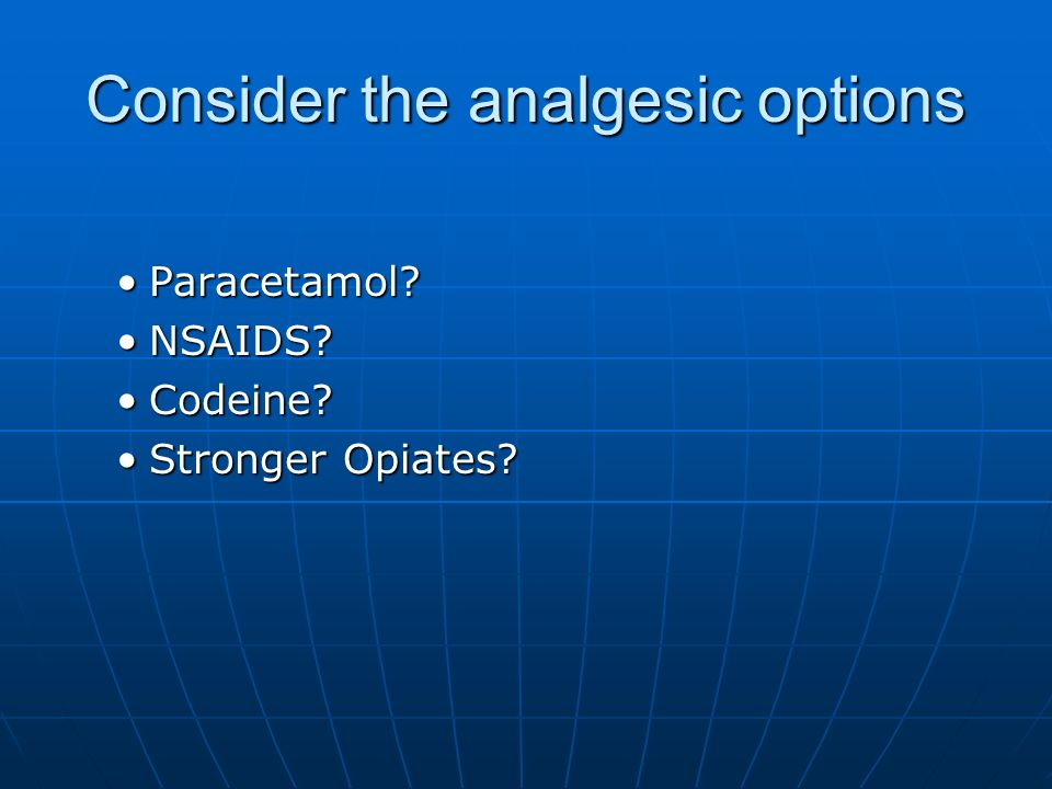 Consider the analgesic options