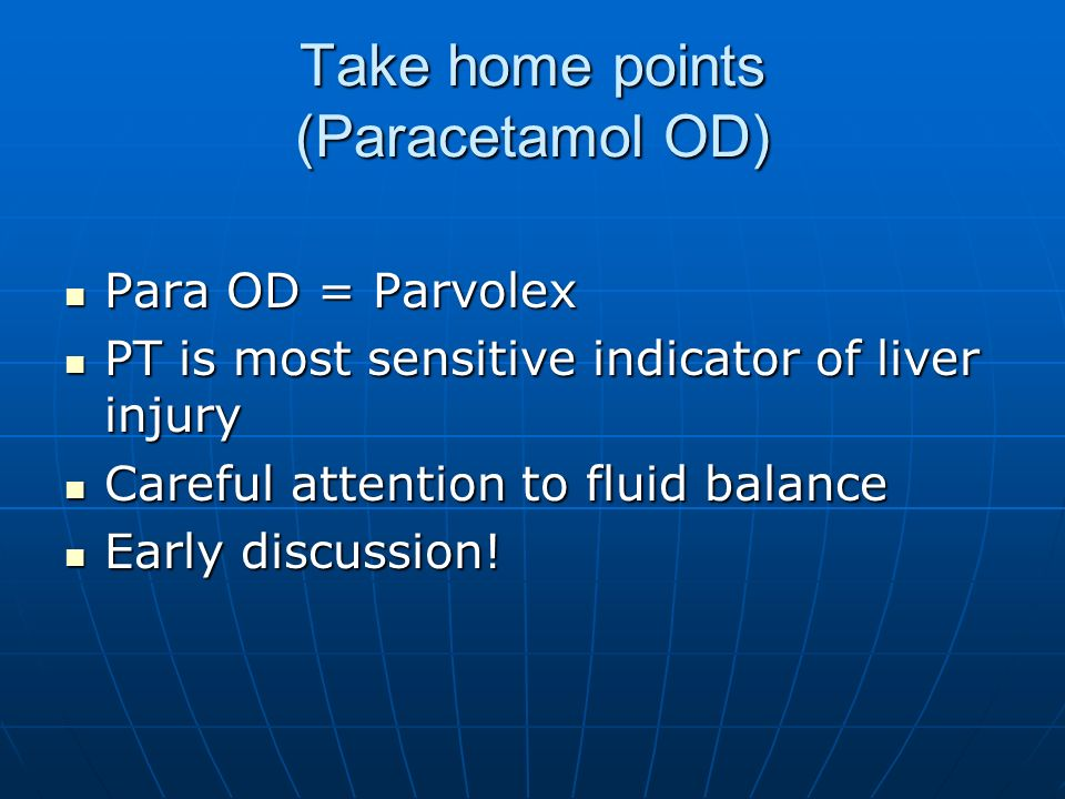 Take home points (Paracetamol OD)