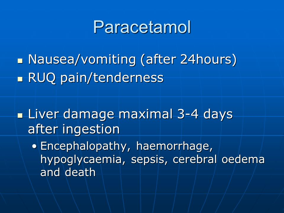 Paracetamol Nausea/vomiting (after 24hours) RUQ pain/tenderness