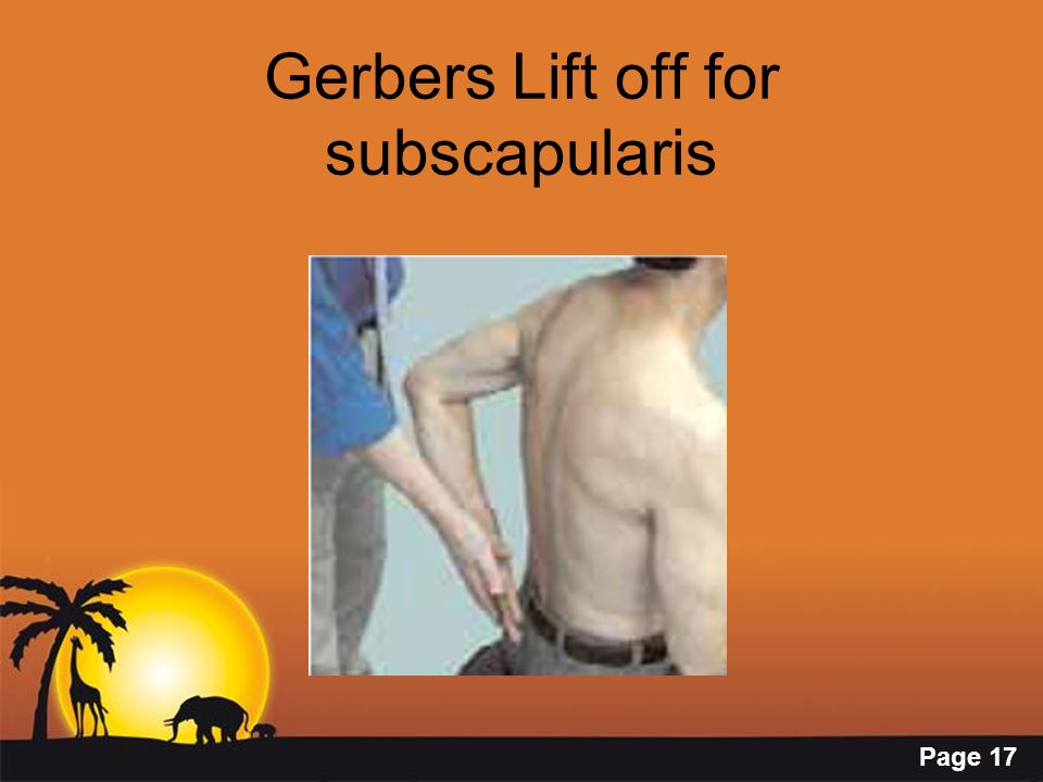 Gerbers Lift off for subscapularis