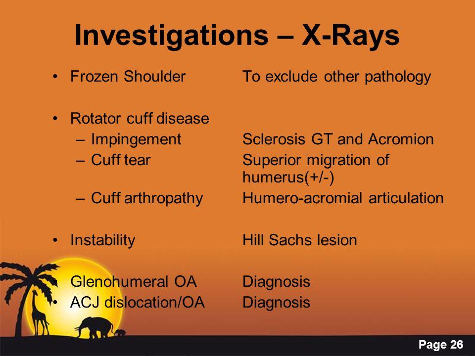 Investigations – X-Rays