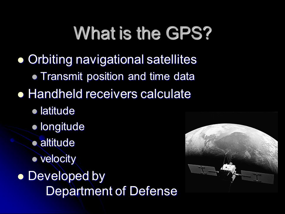 an introduction to the global positioning system gps navigation system Introduction to global positioning systems (gps) module 1 created by: scott kelly 2010 a global positioning system (gps) includes: satellites receiver/unit ground control computers human element.