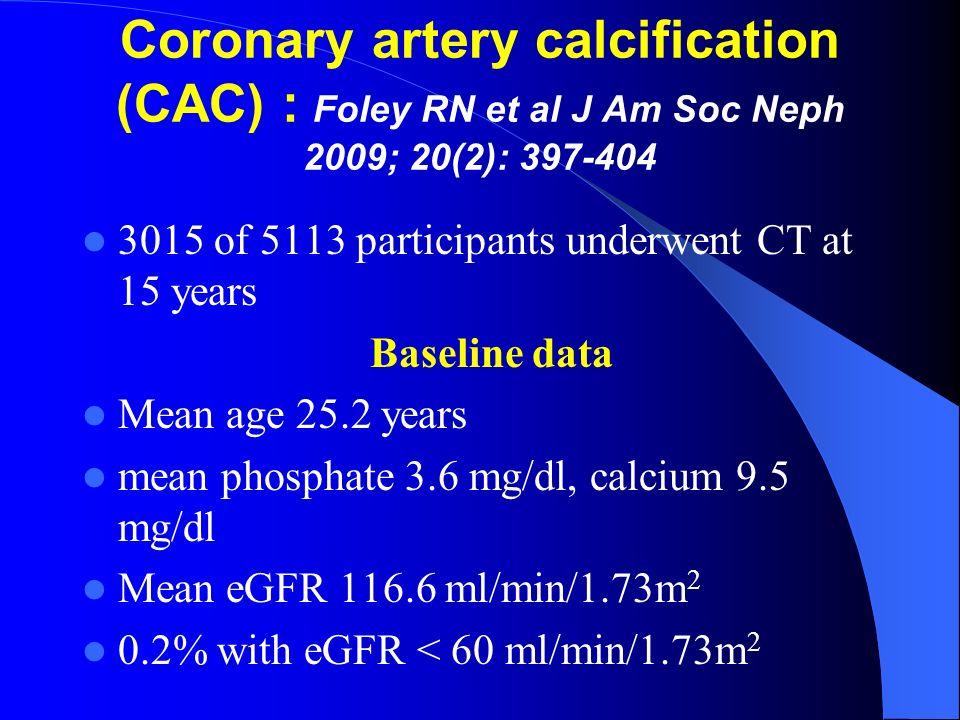 Coronary artery calcification (CAC) : Foley RN et al J Am Soc Neph 2009; 20(2): 397-404