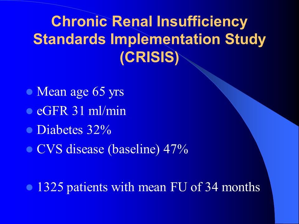 Chronic Renal Insufficiency Standards Implementation Study (CRISIS)
