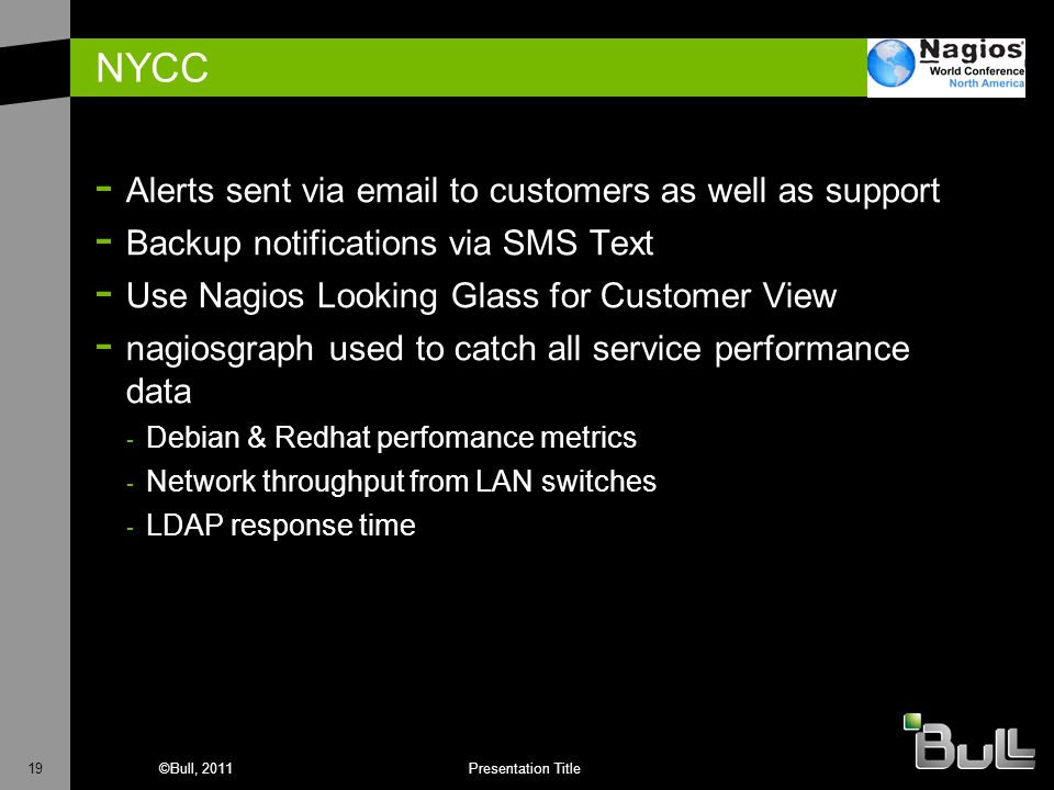 NYCC Alerts sent via  to customers as well as support