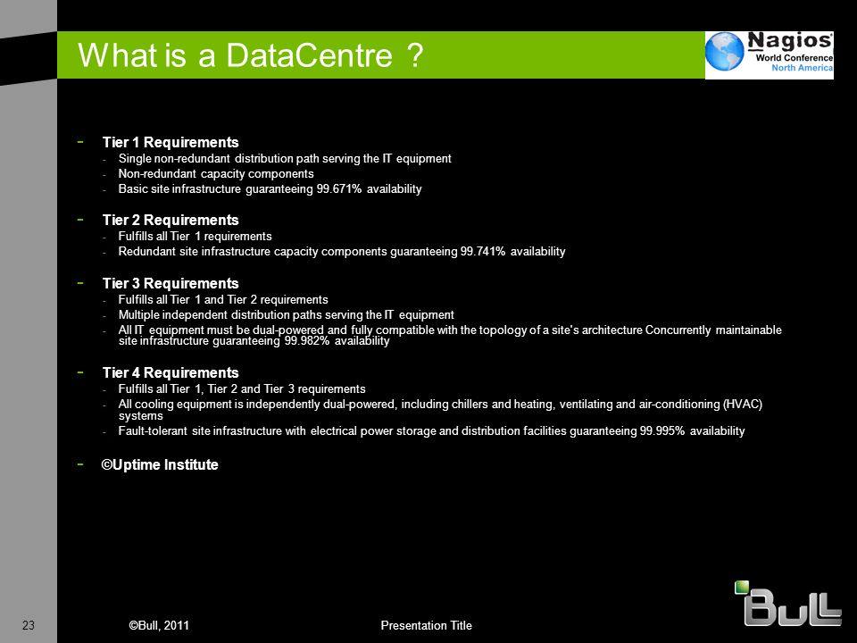 What is a DataCentre Tier 1 Requirements Tier 2 Requirements