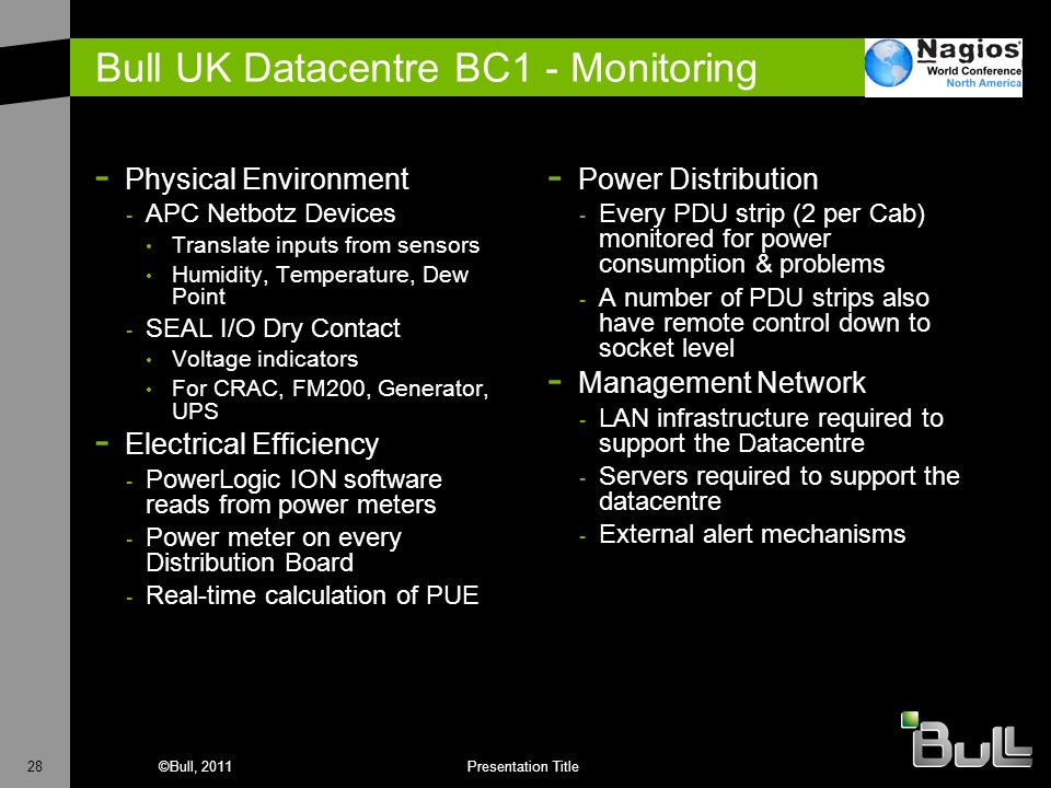 Bull UK Datacentre BC1 - Monitoring