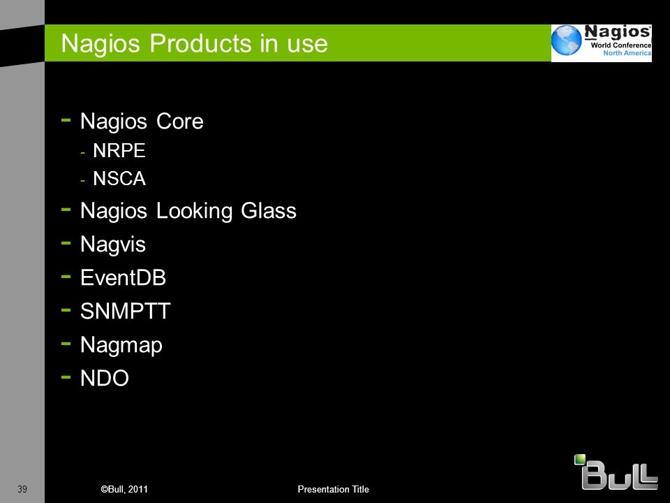 Nagios Products in use Nagios Core Nagios Looking Glass Nagvis EventDB