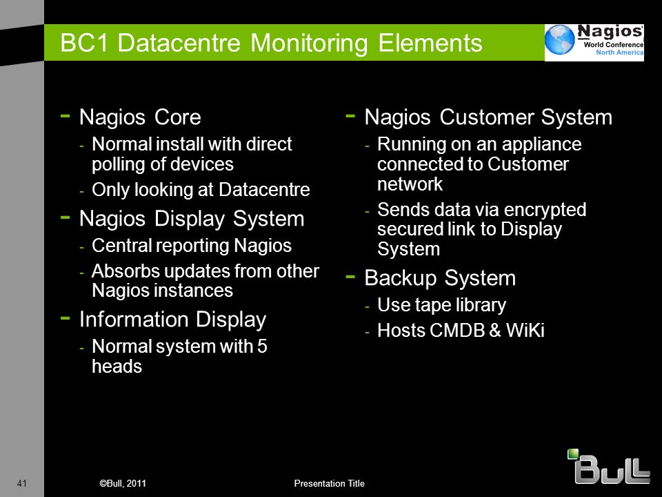 BC1 Datacentre Monitoring Elements