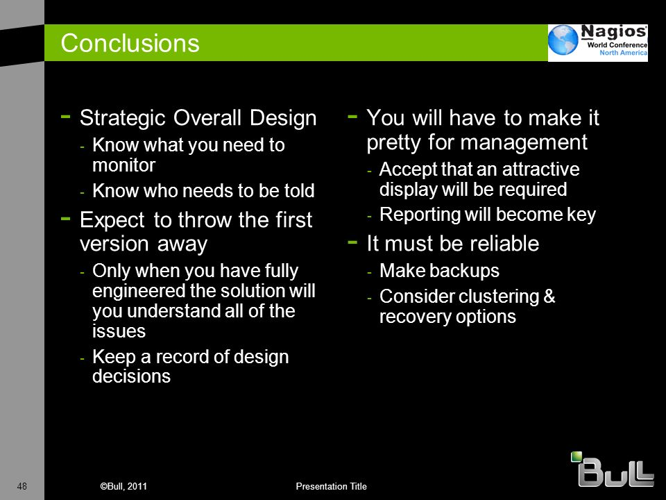Conclusions Strategic Overall Design