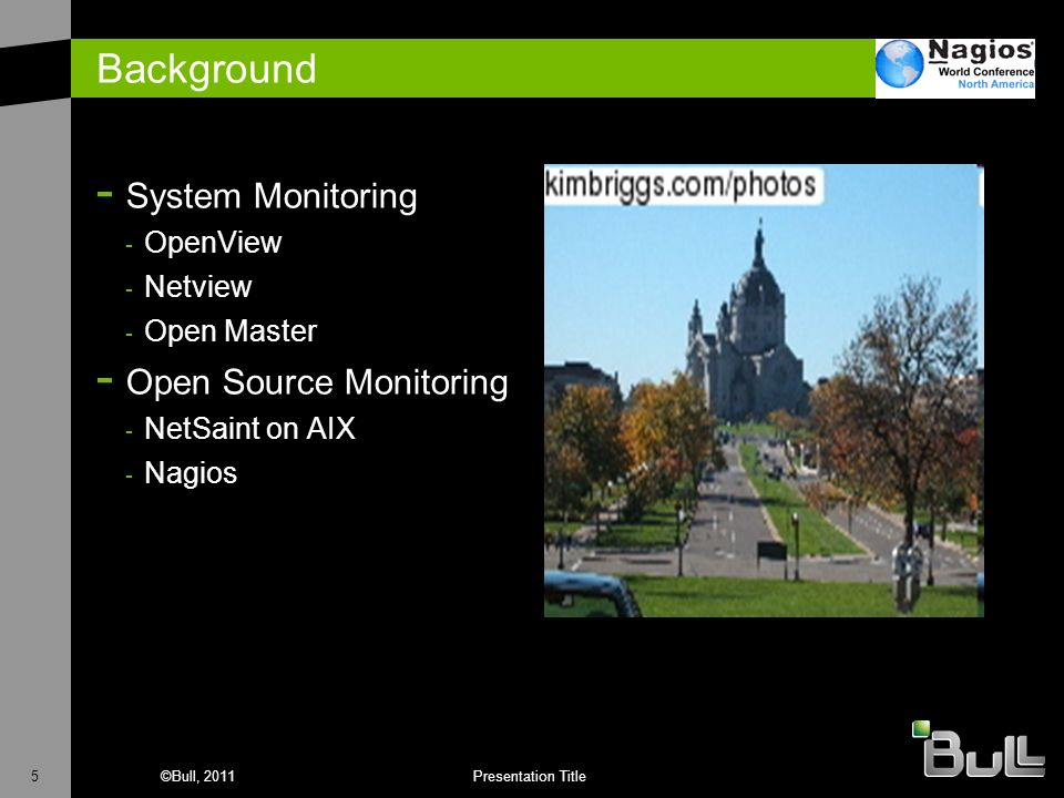 Background System Monitoring Open Source Monitoring OpenView Netview