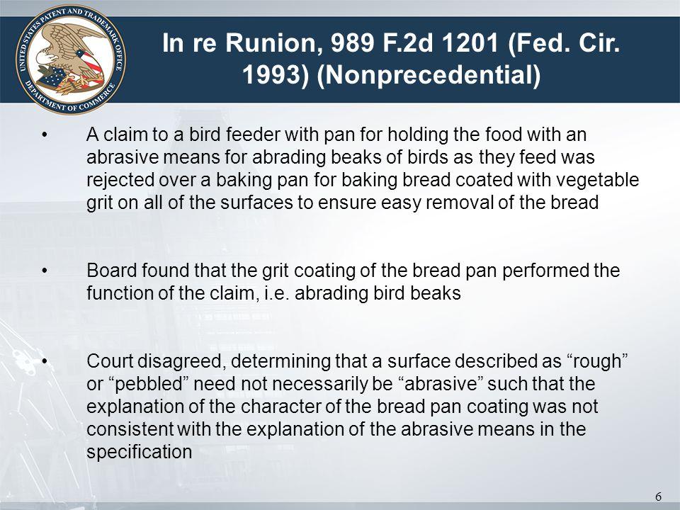 In re Runion, 989 F.2d 1201 (Fed. Cir. 1993) (Nonprecedential)