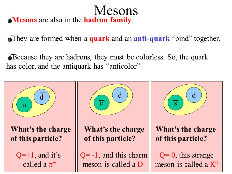 Mesons Mesons are also in the hadron family.