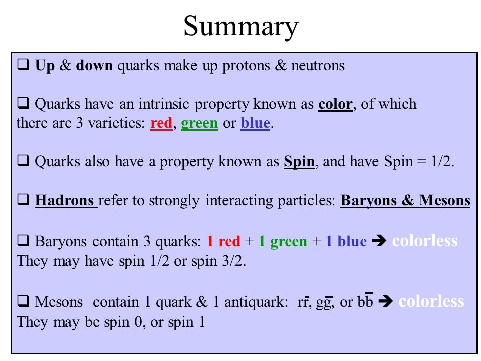 Summary Up & down quarks make up protons & neutrons