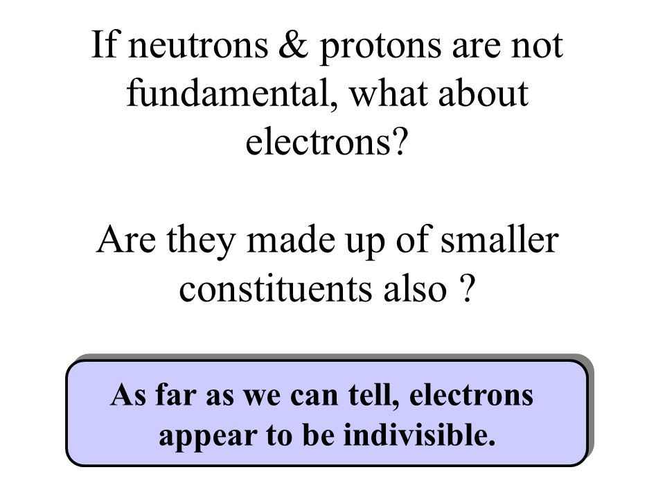 As far as we can tell, electrons appear to be indivisible.