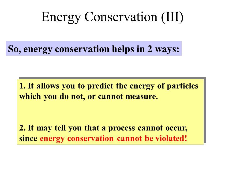 Energy Conservation (III)
