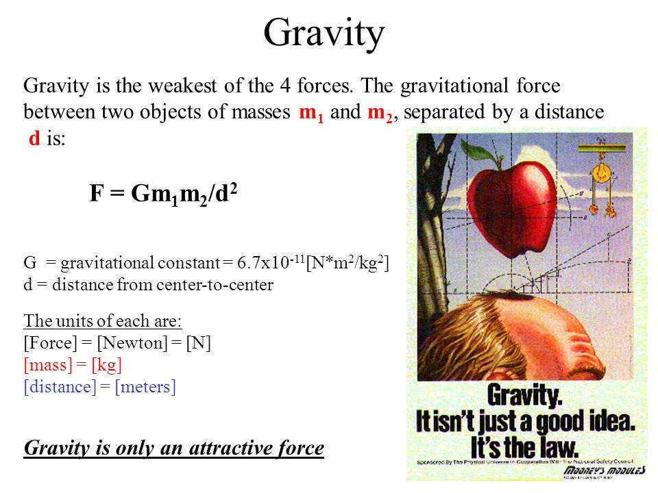Gravity Gravity is the weakest of the 4 forces. The gravitational force between two objects of masses m1 and m2, separated by a distance d is: