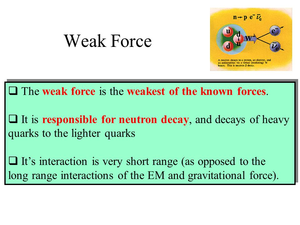 Weak Force The weak force is the weakest of the known forces.