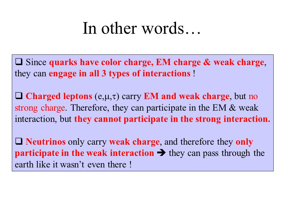 In other words… Since quarks have color charge, EM charge & weak charge, they can engage in all 3 types of interactions !