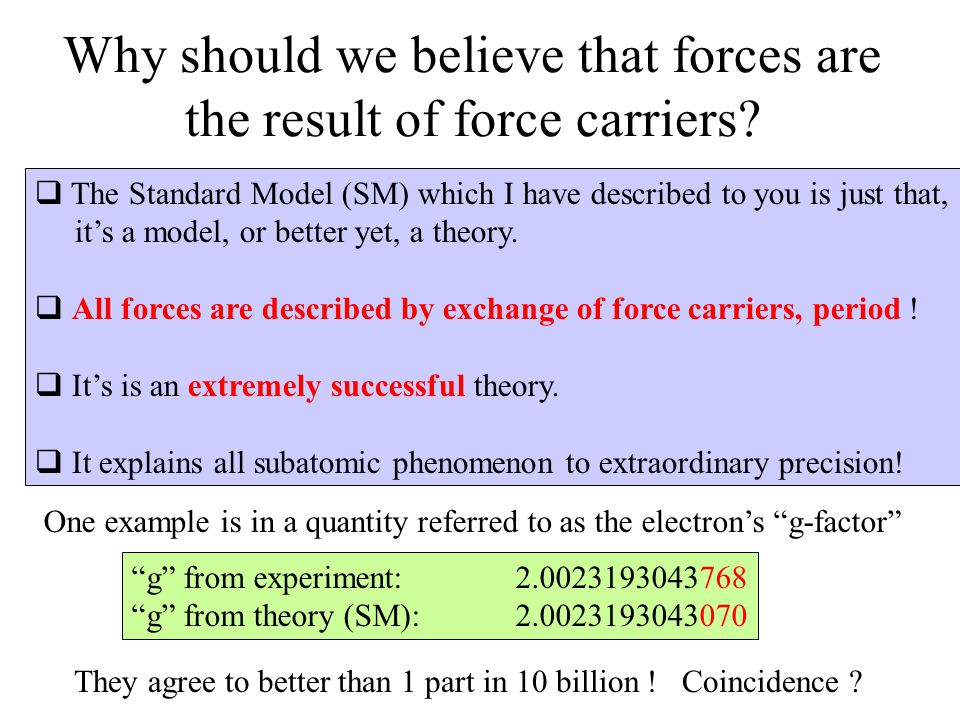 Why should we believe that forces are the result of force carriers