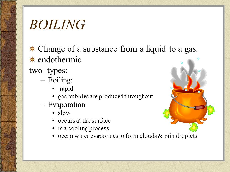 BOILING Change of a substance from a liquid to a gas. endothermic