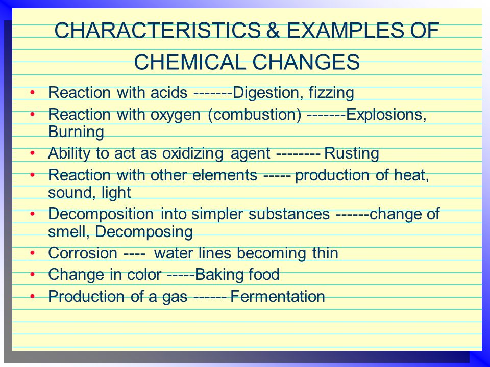 CHARACTERISTICS & EXAMPLES OF CHEMICAL CHANGES
