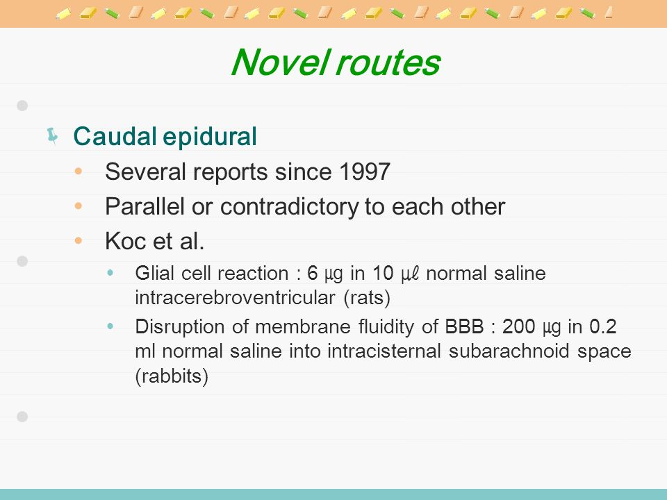 Novel routes Caudal epidural Several reports since 1997