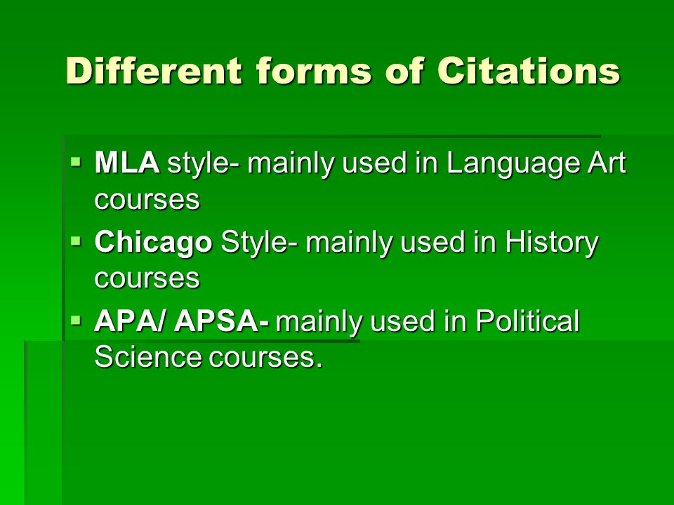 Different forms of Citations