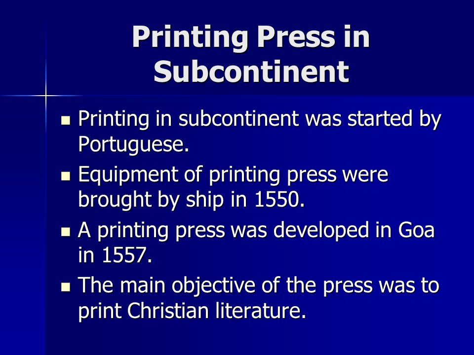 Printing Press in Subcontinent